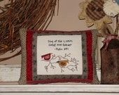 """Primitive Americana Decor Pillow, """"Sing of the Lord's Great Love Forever"""", Psalm 89:1"""