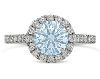 Aquamarine & Diamonds Halo Enggagement Ring AQ500