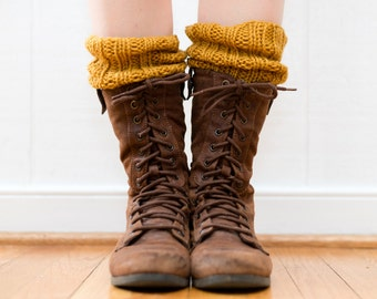 READY TO SHIP - Knitted Boot Cuffs, Hand Knit Mustard Yellow Wool Boot Toppers