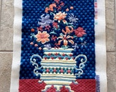 Vintage Tapestry Tapestrations Paternayan Persian Yarn Completed Needlepoint Canvas Floral Vase Urn