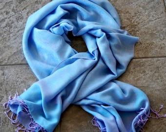 Vintage Shawl Wrap Pashmina Silk Scarf Woven Blue Lavender Pastel