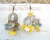 earrings daffodil mismatch cameo assemblage spring chandelier charm