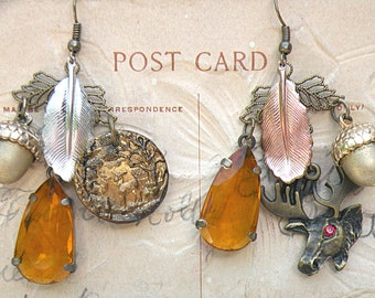fall mismatch earrings deer button acorn assemblage stag