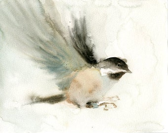 CHICKADEE Original watercolor painting 10x8inch