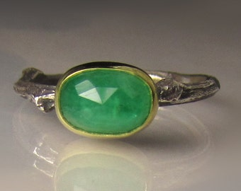 Emerald Ring, Rose Cut Emerald Twig Ring, 18k Gold and Sterling Silver