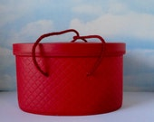 Mid Century Red Plastic Quilted Closet Organizer Box. Model Home. Henry A. Enrich and Co.N.Y