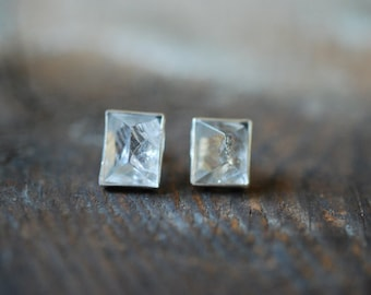 Emerald Cut Crystal Stud Earrings