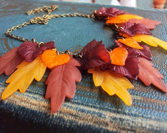 Charm Necklace Lucite Leaves Leaf Antique Brass Chain Pendants Unique Handmade Jewelry Fall Autumn Colored Leaves