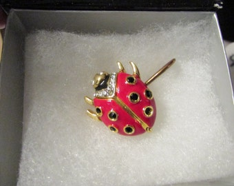 Designer Signed KENNETH LANE Lady Bug Pin and Or Scarf Pin
