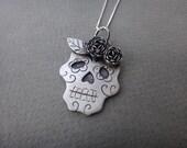 Rosy Sugar Skull Necklace