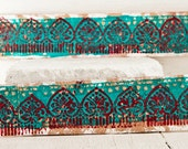 Turquoise Leather Jewelry Etsy Finds - Handmade Bracelet Cuff Wristbands - Hand Painted Bohemian Gypsy Leather Goods Leather Items