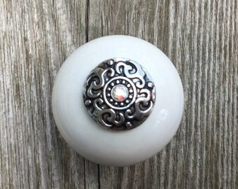White Ceramic Drawer Knobs - Cabinet Knobs with Metal Top and Crystal (CK49-BT01)