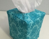 Reversible Tissue Box Coxer in Turquoise and Brown