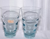 2 VIntage Blue Libbey Glasses Tumblers Tag on