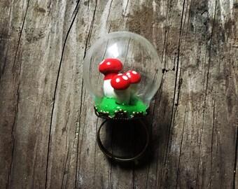 Mushroom ring globe adjustable band miniature toadstool gnome ring