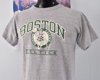 Vintage Boston Celtics Tee MA by Champion 80s World Champions Heather Gray TShirt Tee LARGE