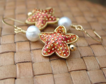 Rust Cloisonne Starfish with White Freshwater Pearl Earrings, Gold Plated