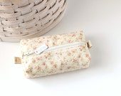 Small Boxy Pouch Pink and Cream Coin Purse Floral Change Purse Zipper Pouch