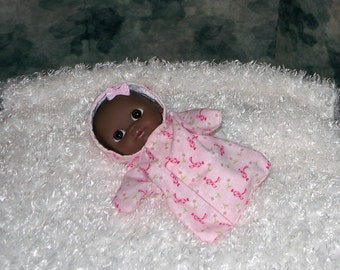 8LCHS-40) 8 inch Lil Cutesie Berenguer baby doll clothes, 1 flannel hooded sleeper with panties