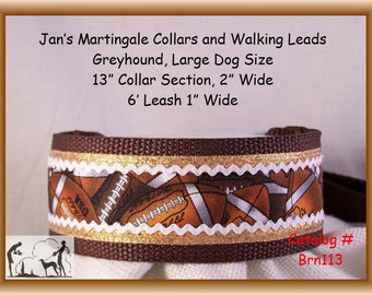 Jan's Martingales, Brown Walking Lead, Collar and Lead Combination, Greyhound, Large Dog Size, Brn1130