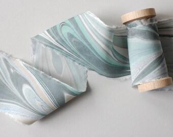 Marbled Silk Ribbon in Sea Glass Greens