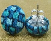 Blue Brick Fabric Button Earrings