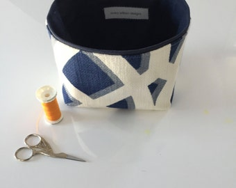 new size! navy and cream small fabric storage bin // modern // linen and cotton