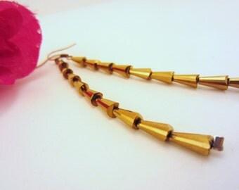 Gold earrings, beaded earrings, dangle earrings, drop earrings. Gift for woman. Shiny. Dark gold glass beads.
