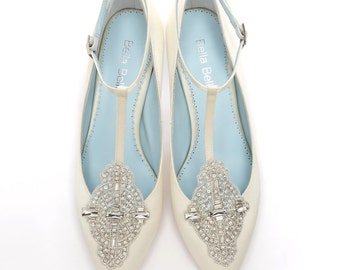 Handmade Wedding shoes with Art Deco Ivory Wedding Shoes with Crystal Applique T-Strap low Heel Silk Satin Bridal Shoes