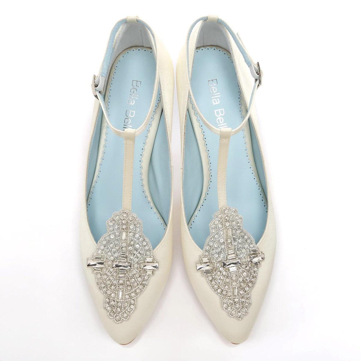 Custom Made Bridal Shoes Uk: Handmade Wedding Shoes With Art Deco Ivory Or White Wedding