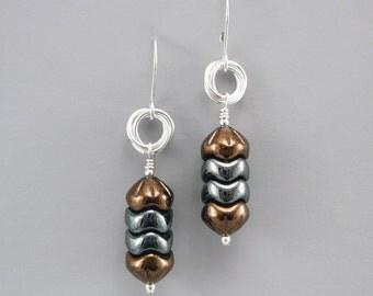Metallic Glass Bead Earrings, Sterling Silver and Copper Dangle Earrings, Geometric Earrings, Glass Jewelry