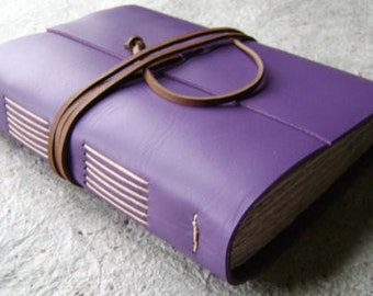 """Leather journal, 5.5""""x 7.5"""", lavender, handmade leather journal by Dancing Grey Studio (1861)"""