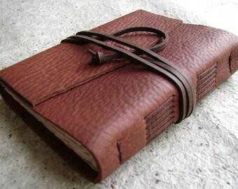 "Rustic leather journal, rust brown, 4"" x 6"", handmade journal by Dancing Grey Studio(2089)"