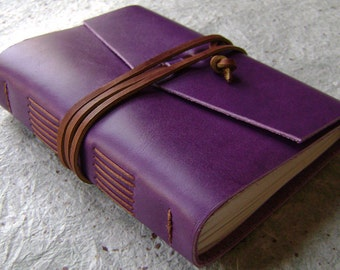 "Leather journal, 4"" x 6"", violet/purple, handmade journal  (2151)"