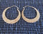 Balinese Creolen Sterling Silver Hoop Earrings / silver 925 / Bali Hammered Jewelry / 1 inch