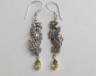 Sterling Silver green peridot gemstone floral design dangle earrings / silver 925 / Balinese  jewelry / 2 inch long