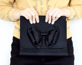 Vintage 60s Mod Big Bow Cocktail Purse - Black Evening Clutch - Large Purse