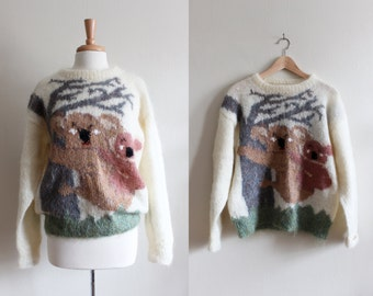 Vintage Hand Knit Mohair Koala Sweater