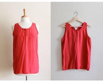 Vintage Red 100% Silk Sleeveless Top