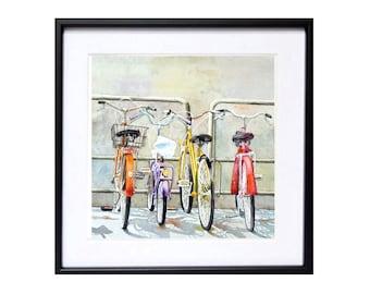 Travel Art Print, Bicycle Print,  Italian bicycle, Watercolor painting, Bike watercolour, WatercolorByMuren