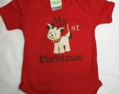 Embroidered T-Shirt, Baby's First Christmas, Reindeer Design. Ready to Ship