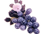 RESERVED Stanley Hagler  NYC Purple and Amethyst Floral and Fruit Brooch