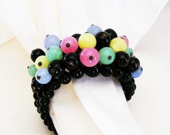 Black Glass Bead Expandable Bracelet
