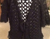 Embellished, altered dress and crocheted jacket, black and white polka dots