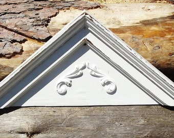 Vintage  Architectural Pediment Wooden Door Header Chippy Paint