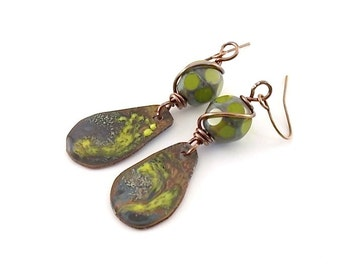 Green And Metal Industrial Style Earrings - Green Earrings - Copper Earrings - Enamal Earrings - Artisan Earrings - Boho Chic - AE046