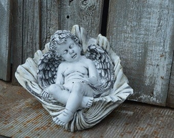 CHCHERUB BABY ANGEL in sea shell chabby chic cottage chic french nordic neoclassical french country