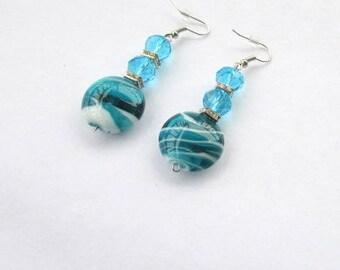 SALE!-Ocean Blue Dangle Earrings, Turquoise Earrings