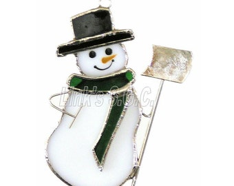 Stained Glass Snowman with shovel ornament suncatcher
