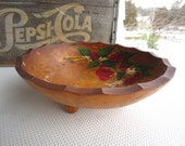 Vintage Hand Painted Cherry Wooden Bowl Rio Grande Woodenware